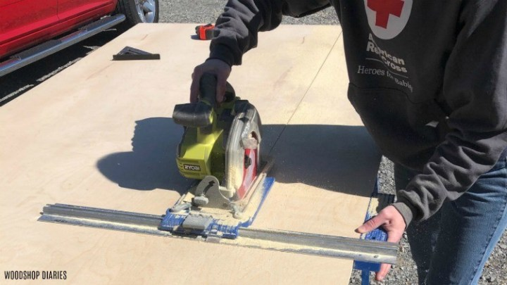 ripping down plywood sheet using Kreg rip cut and circular saw