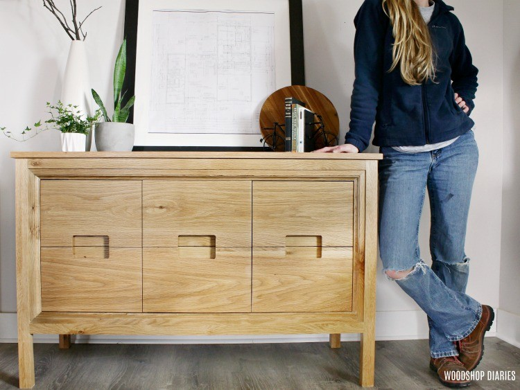 DIY modern dresser console cabinet with notched drawer pulls and trim detail on the front