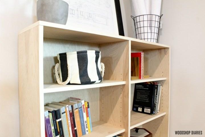 Close up of plywood bookshelf adjustable shelf pins