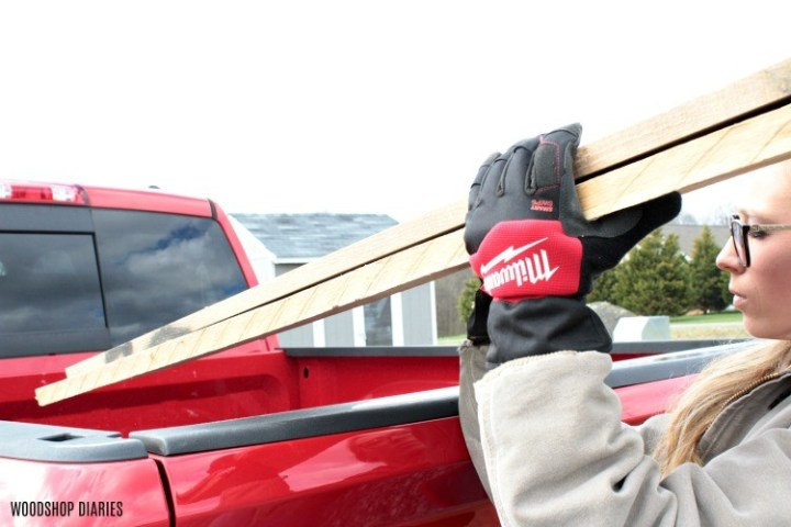 Winter work gloves use to load rough lumber into truck bed