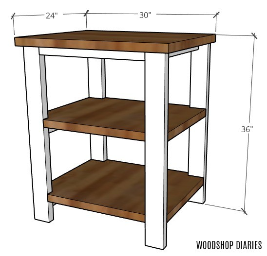 "Overall dimensions of coffee bar table graphic: 24"" deep, 30"" wide, 36"" tall"
