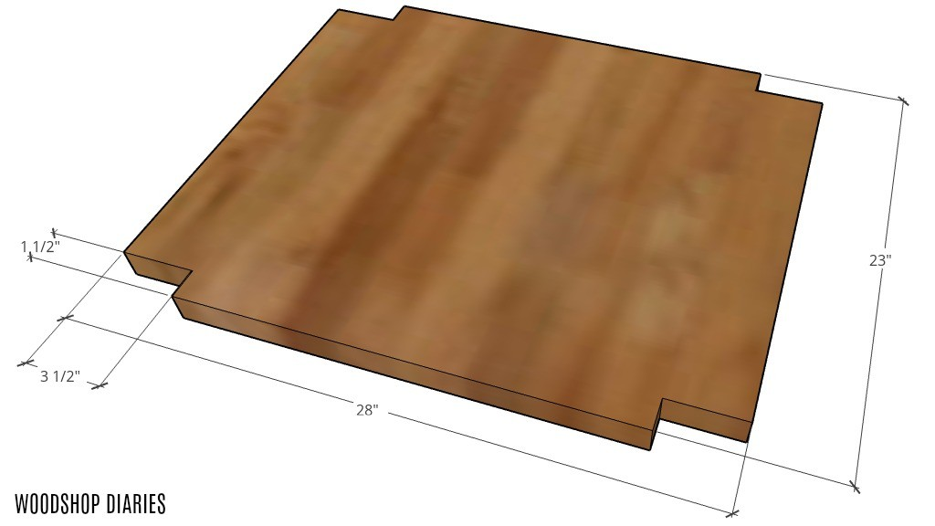 Graphic of coffee bar table shelf with corners notched out