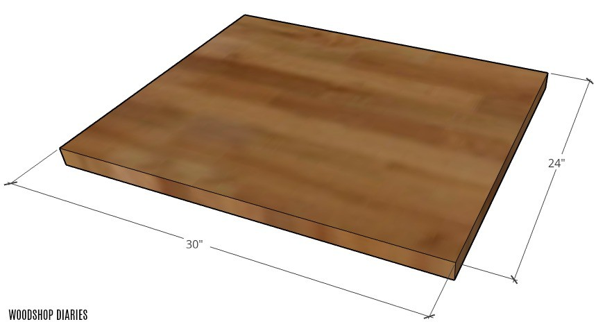 """Graphic of coffee bar table top overall dimensions 24"""" x 30"""""""