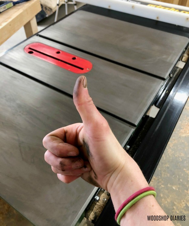 Thumbs up for rust removed from table saw top