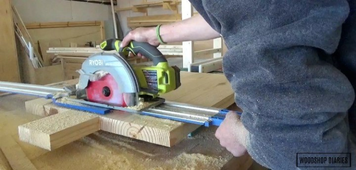 Using circular saw to cut down shelves to correct length