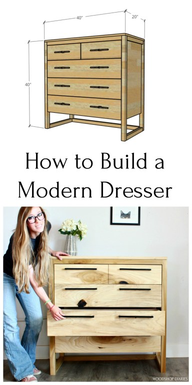 How to Build a Modern Dresser Pinterest collage image with 3d graphic and Shara Woodshop Diaries opening dresser drawer
