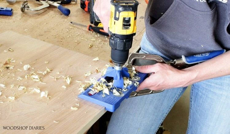 Drilling concealed hinge cup hole into cabinet door--concealed hinge jig tools for cabinet making