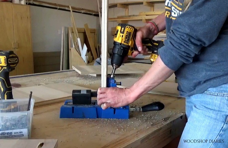 drilling pocket holes into guitar stand stool sides
