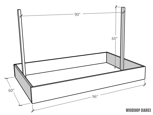 Basic diagram of garden bed with trellis frame