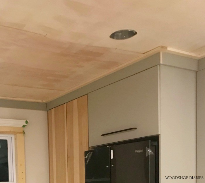 Modern crown molding alternative--1x3s and 1x4s around ceiling joint