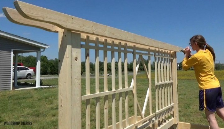 """Screw pergola shaped 2x4 boards into the top of the garden bed trellis frame with 2 1/2"""" wood screws"""