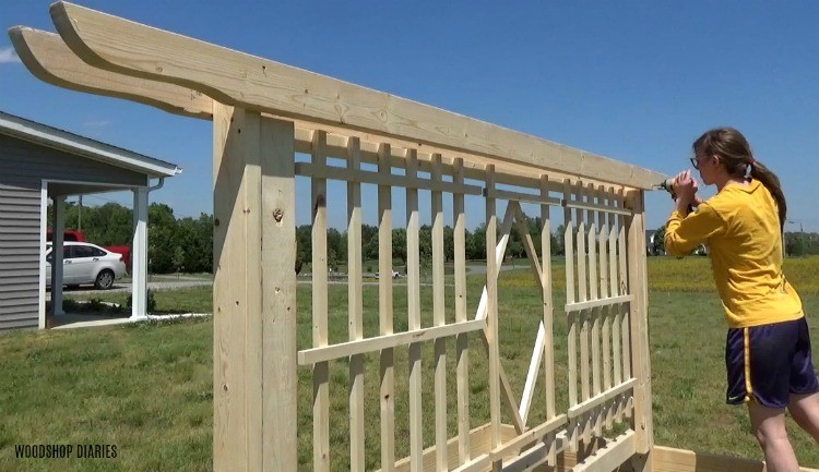"Screw pergola shaped 2x4 boards into the top of the garden bed trellis frame with 2 1/2"" wood screws"