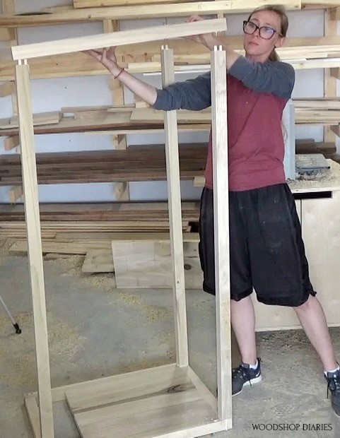 Glue up side panel into frame using dowels and glue