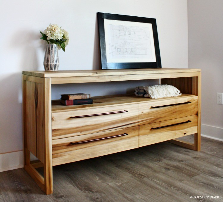 Angled view of DIY modern 4 drawer dresser  made from poplar