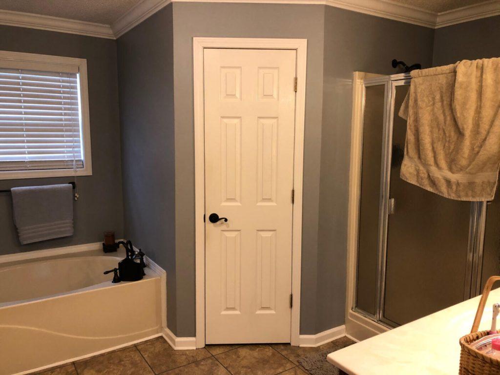 Master bathroom before tub and closet
