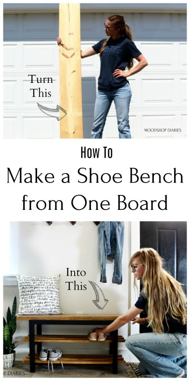 Pinterest Collage image with Shara holding 2x10 board and placing shoes on bench