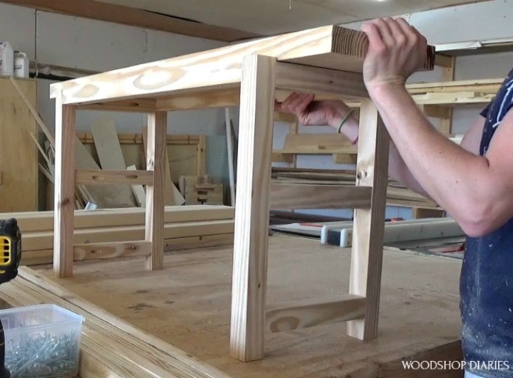Dry fitting the top board into the shoe bench frame