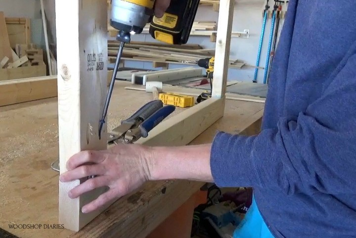 Assembling door frame with pocket holes and screws