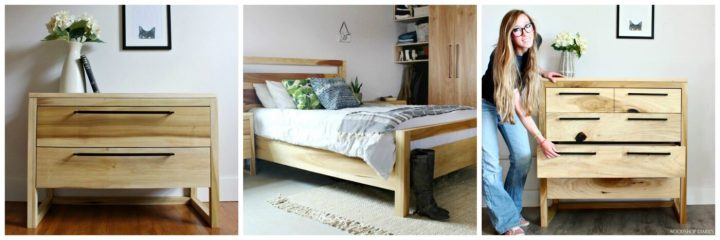Collage image of modern bedroom set with nightstand, bed, 5 drawer dresser