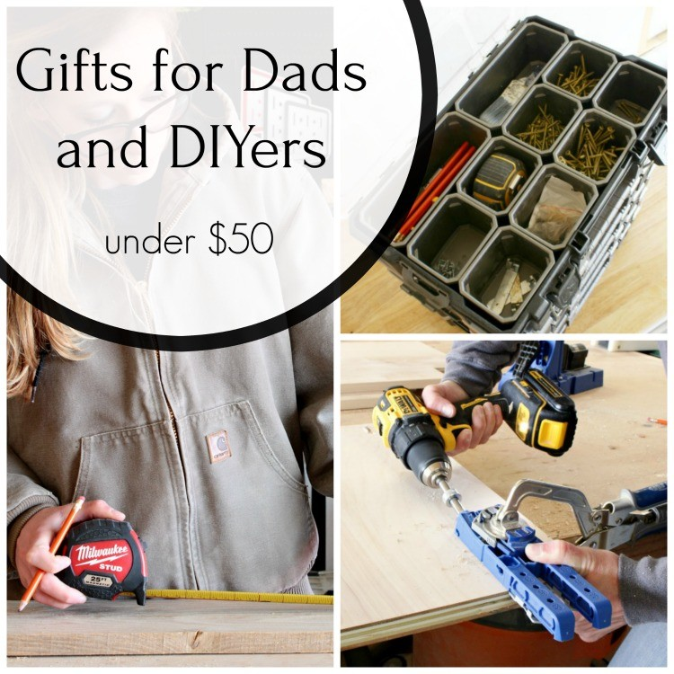 Collage image of gift ideas for Dads and DIYers