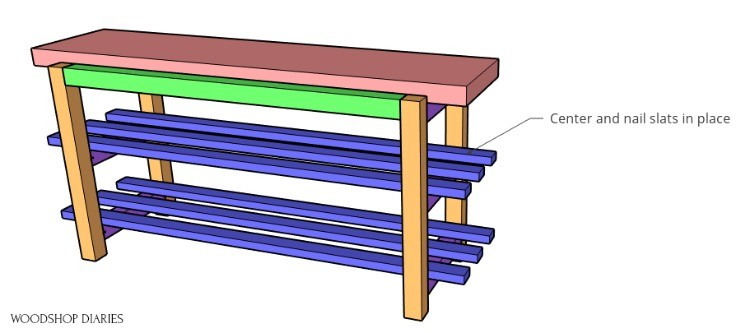 building plan diagram installing the slats into the bench frame