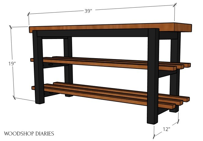 Overall dimensions of shoe bench diagram