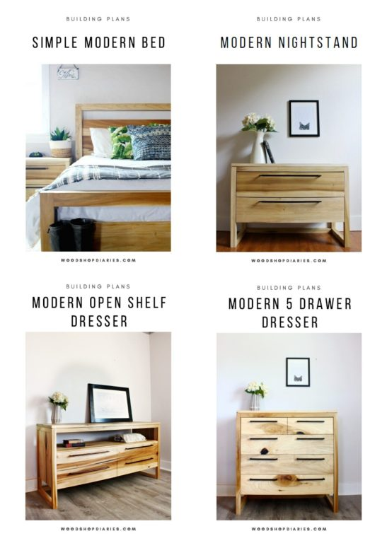 Image Collage of all four bedroom set pieces--bed, nightstand, two DIY modern dressers
