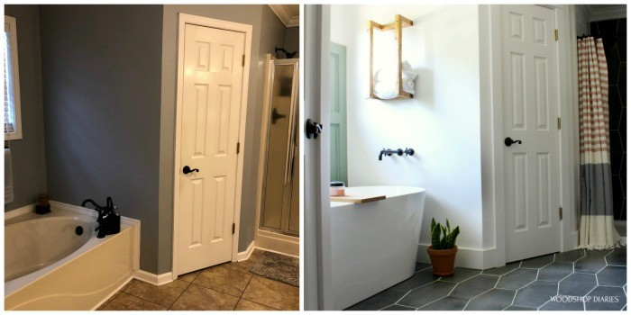 Master bathroom before and after side by side bathtub and corner closet side of room