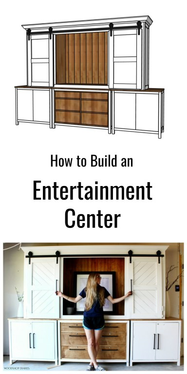 Collage of 3D diagram and Shara with Entertainment center sliding door project pinterest image