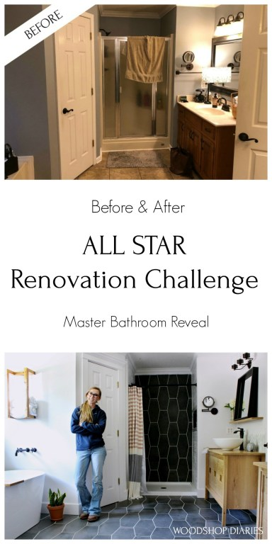 Pinterest graphic before and after master bathroom final reveal
