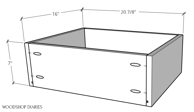 Overall dimensions of drawer boxes assembled