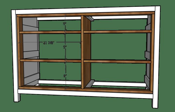 Drawer frame dividers installed into dresser frame in 3D diagram
