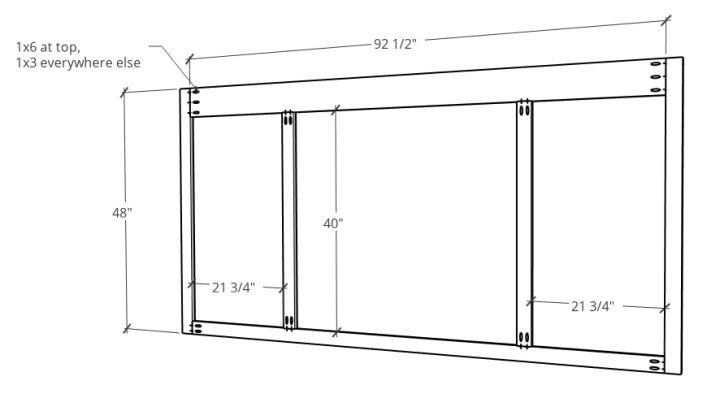 Face Frame diagram for sliding door entertainment center