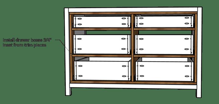 6 drawers installed into dresser frame