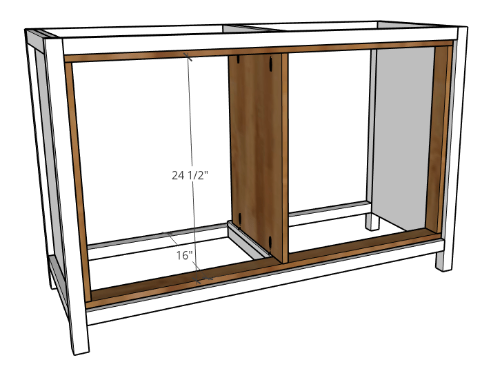 Diagram of middle plywood panel installed into dresser frame
