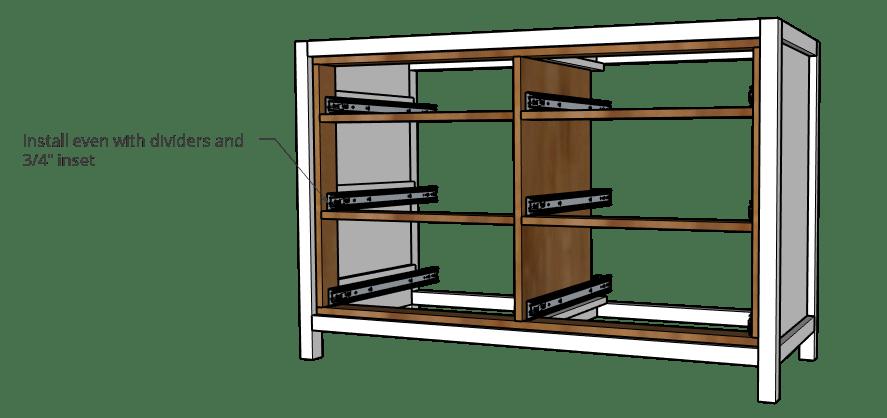 6 Drawer Dresser slides installed into dresser frame