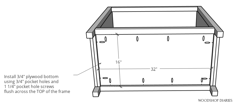 Bottom panel of pocket door cabinet installed using pocket holes and screws diagram