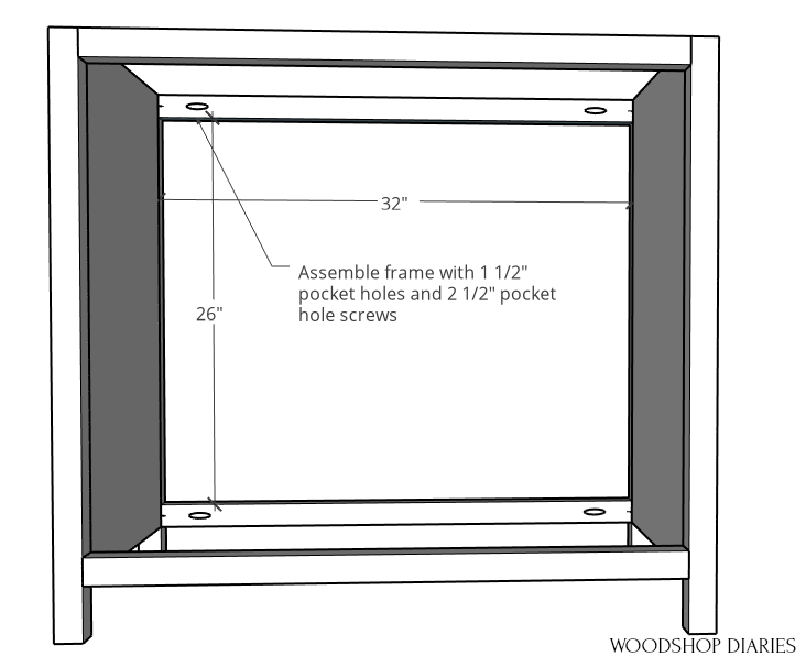 Pocket door cabinet frame assembled with 2x2s diagram with dimensions