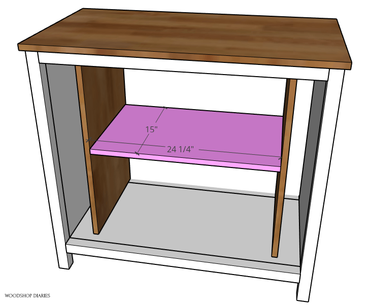 Adjustable shelf dimensions for pocket door cabinet