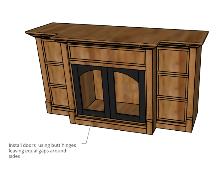 Diagram of doors installed onto dog crate console cabinet