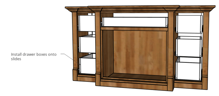 drawer boxes installed onto drawer slides of console cabinet dog crate