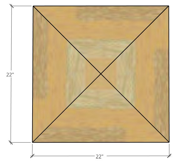 """22"""" square plywood cut diagram for seat bottom"""