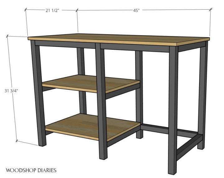 Overall desk dimensions in 3D diagram