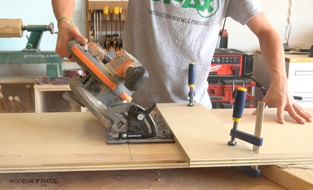 Circular saw running along straight edge clamped to work piece at 45 degree angle