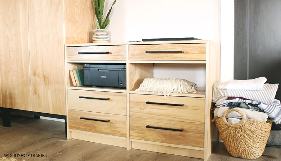 DIY dresser desk shown as dresser with storage cart seat rolled up into place