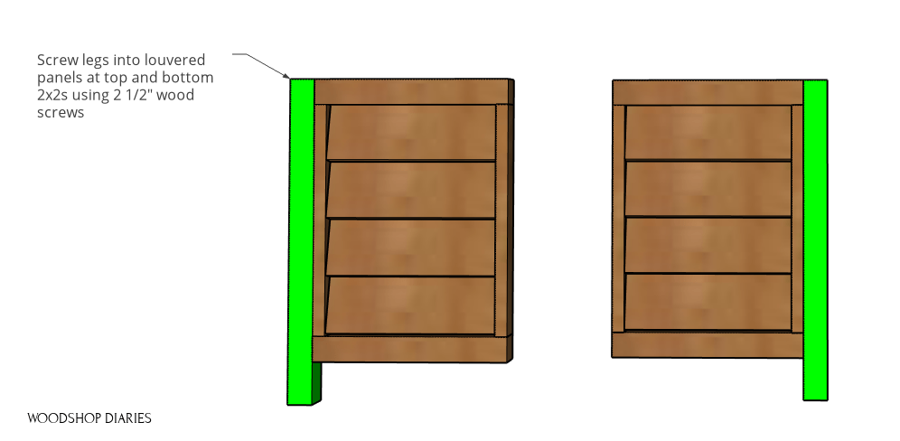 Legs attached on opposite sides of two louvered panels of planter box
