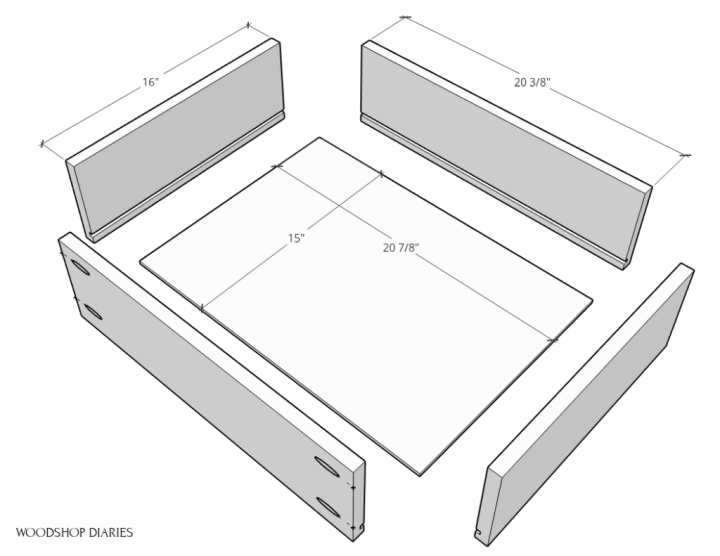 Exploded view of drawer boxes with dimensions