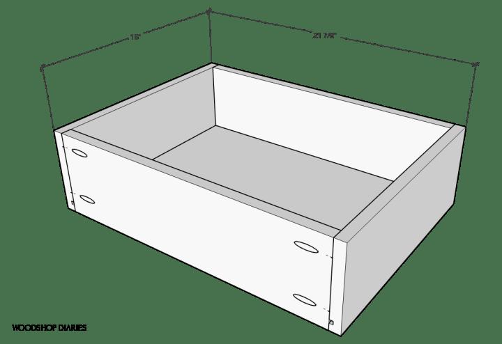 Overall desk drawer box dimensions