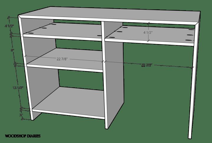 Shelves installed into desk--diagram of shelf locations