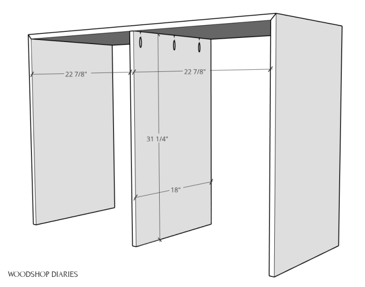 Middle divider installed into dresser desk frame